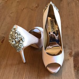 Badgley Mischka Pink Jewled Heels